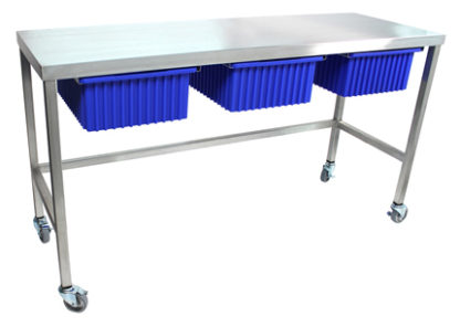 view of stainless steel mobile utility table cart with three blue tote bins