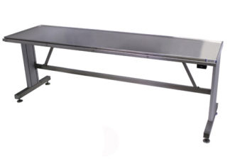 EnduraSteel stainless steel adjustable surgical exam table shown with automatic lift control