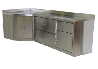 SterilKleen stainless steel base casework cabinet for room corner