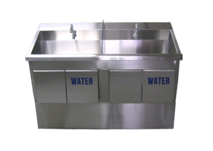 SurgiKleen stainless steel floor mounted dual bay medical scrub sink