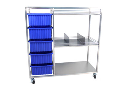 SterilKleen stainless steel open surgical case cart