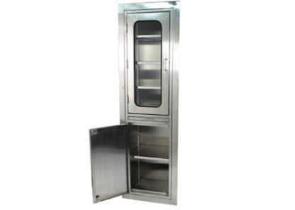 SterilKleen Slim Design Stainless Steel Operating Room Storage Cabinet shown with bottom door open