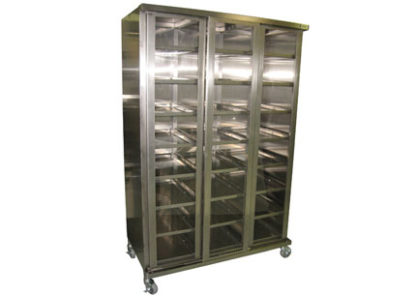 SteriKleen stainless steel operating room instrument cabinet down with optional window inserts