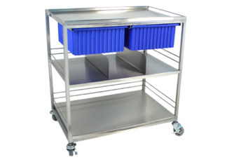 view of SurgiKleen stainless steel surgical distribution cart