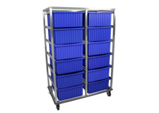 view of SteriKleen tote box surgical cart with 12 blue storage bins