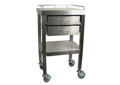 SterilKleen stainless steel surgical utility table cart with two drawers