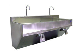 SurgiKleen stainless steel Wall Mounted Dual Bay Pre Op Scrub Sink