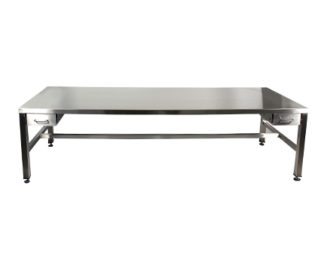 EnduraSteel 4 post stainless steel adjustable height surgical table shown with automatic lift and storage drawer options