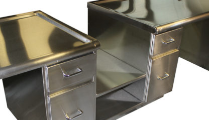 SterilKleen® Stainless Steel Administration Desk showing printer shelf
