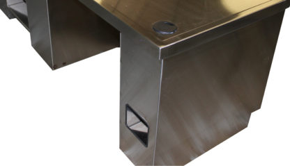 SterilKleen® Stainless Steel Administration Desk showing electrical and cable cutouts
