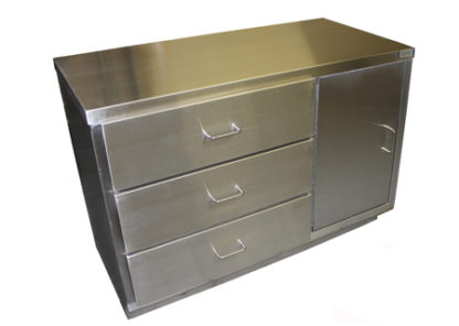 SterilKleen® Stainless Steel Autopsy Casework Station with 3 large drawers