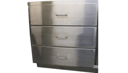 SterilKleen® Stainless Steel Autopsy Casework Station showing 3 large drawers and stainless drawer pulls
