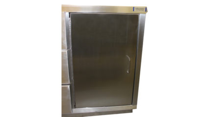 SterilKleen® Stainless Steel Autopsy Casework Station showing cabinet door and stainless hardware