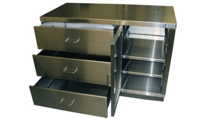 SterilKleen® Stainless Steel Autopsy Casework Station interior view showing drawers extended and door open