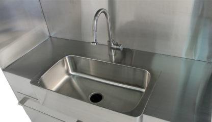 SterilKleen® Stainless Steel Custom Casework Cabinet with Sink showing sink interior detail