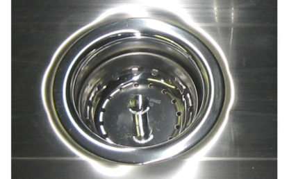 SurgiKleen® Stainless Steel Floor Mount Two Bay Scrub Sink showing drain detail