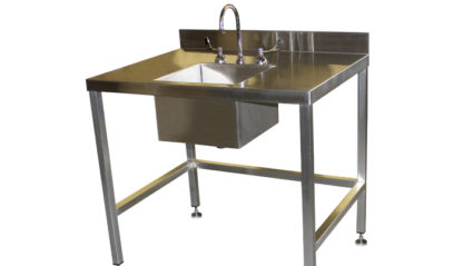SurgiKleen® Stainless Steel Free Standing Sink Table showing overall sink in larger format