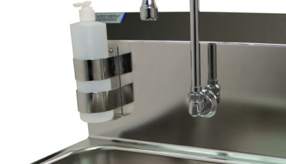 VersaKleen® Stainless Steel Hand Wash Sink with Soap Dispenser showing dispenser and goose neck faucet detail