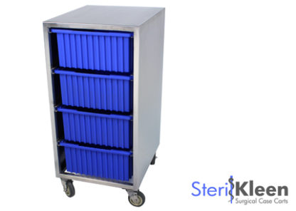 SterilKleen® Stainless Steel Instrument Assembly Tote Storage Cart with SterilKleen Logo