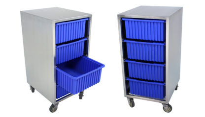 SterilKleen® Stainless Steel Instrument Assembly Tote Storage Cart showing two different views of cart