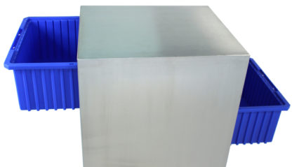 SterilKleen® Stainless Steel Instrument Assembly Tote Storage Cart showing tote bins extended from front and back