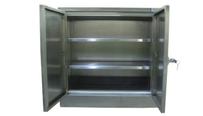 SterilKleen® Stainless Steel Laboratory Wall Cabinet interior view showing double doors open and optional shelves