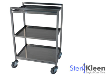 SterilKleen® Stainless Steel Lightweight Surgical Open Case Cart with SterilKleen logo