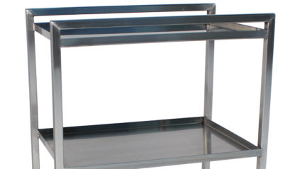 SterilKleen® Stainless Steel Lightweight Surgical Open Case Cart showing Push Handle detail