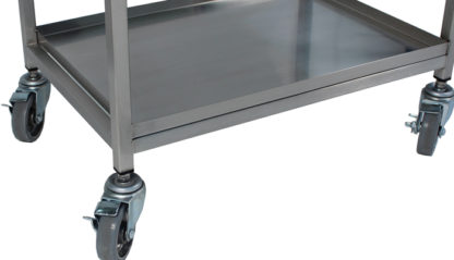 SterilKleen® Stainless Steel Lightweight Surgical Open Case Cart showing Bottom Shelf with Retainer Lip detail