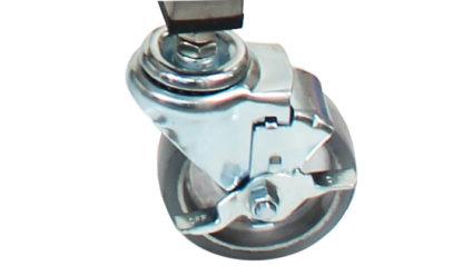 SterilKleen® Stainless Steel Lightweight Surgical Open Case Cart showing Bottom Shelf Locking Swivel Caster detail