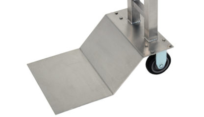 SterilKleen® Stainless Steel Mobile Instrument Stand showing floor plate and caster detail