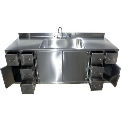 SterilKleen® Stainless Steel Multi-Storage Casework with Sink showing interior of outer cabinets and drawers extended