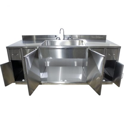 SterilKleen® Stainless Steel Multi-Storage Casework with Sink showing interior of middle cabinet and outer cabinets open