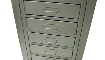 SterilKleen open storage operating room cabinet stainless steel drawers detail view