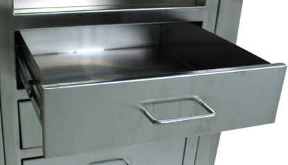 SterilKleen open storage operating room cabinet showing open stainless steel drawer