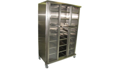 SterilKleen Stainless Steel Operating Room Instrument Cabinet shown with optional locking swivel casters, middle sliding door open, and instrument tray extended