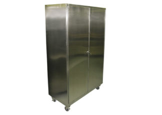 SterilKleen Stainless Steel Operating Room Storage Cabinet shown with optional locking swivel casters