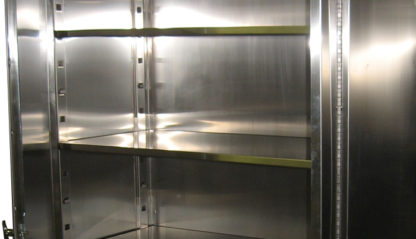 SterilKleen Stainless Steel Operating Room Storage Cabinet showing inside with stainless steel adjustable shelves
