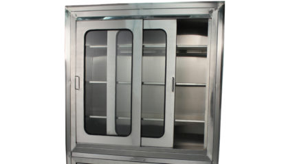 SterilKleen® Stainless Steel Operating Room Surgical Cabinet showing top section with sliding doors with safety glass partially open
