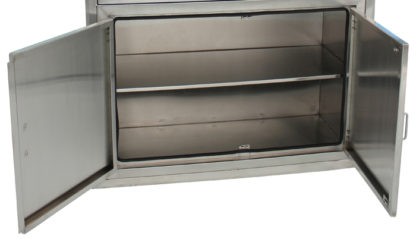 SterilKleen® Stainless Steel Operating Room Surgical Cabinet showing bottom section with doors open