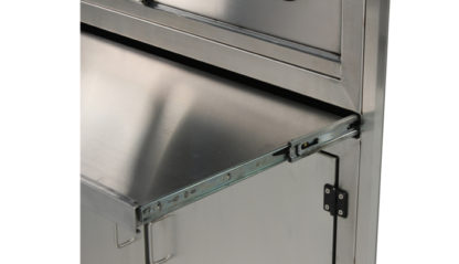 SterilKleen® Stainless Steel Operating Room Surgical Cabinet showing pull-out shelf extended and heavy duty stainless hardware
