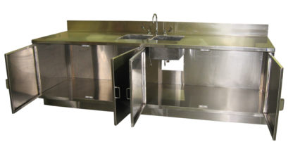 SterilKleen® Stainless Steel Pharmaceutical Casework with Two Sinks showing interior detail with cabinet doors open