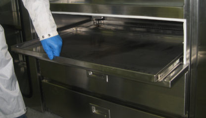 SterilKleen® Stainless Steel Sloped Top Cabinet showing pull out tray detail