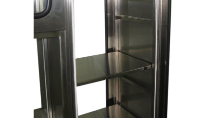 SterilKleen® Stainless Steel Sloped Top Cabinet showing removable stainless shelf