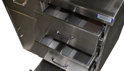 SterilKleen® Stainless Steel Casework Reception Desk showing stainless drawers extended and stainless hardware detail