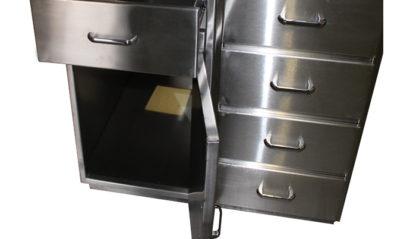 SterilKleen® Stainless Steel Casework Reception Desk showing cabinet door open