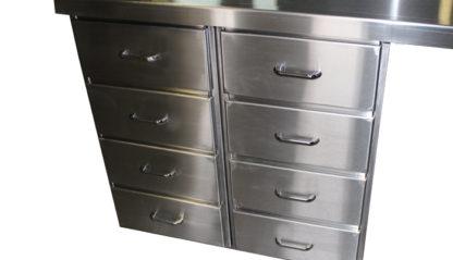 SterilKleen® Stainless Steel Casework Reception Desk showing stainless drawer pull handle hardware