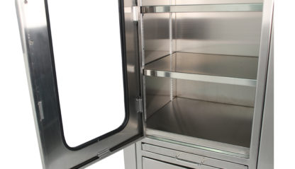 SterilKleen® Stainless Steel Hospital Cabinet showing top section door with viewing window open