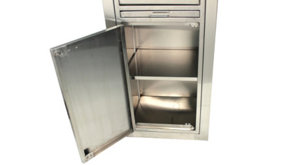SterilKleen® Stainless Steel Hospital Cabinet showing bottom section solid door open