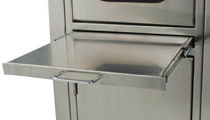 SterilKleen® Stainless Steel Hospital Cabinet showing pull-out shelf extended